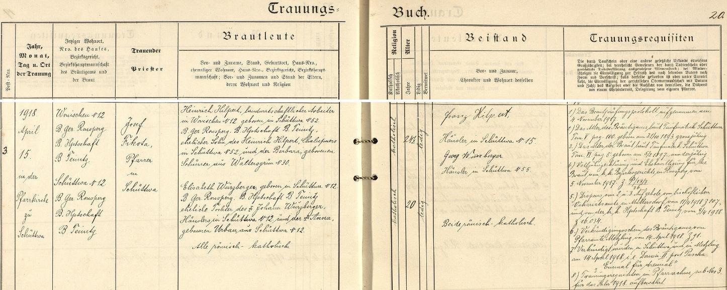 Záznam o svatbě jeho děda Heinricha ze šitbořské oddací matriky