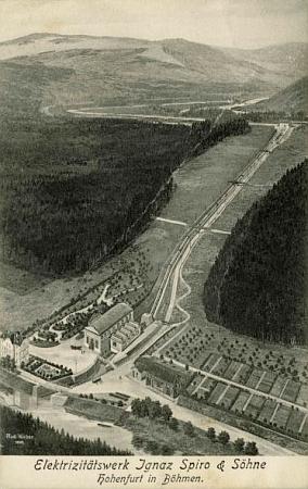 Elektrárna firmy Ignaz Spiro a synové uVyššího Brodu, svého času druhá největší elektrárna c.k. monarchie, na pohlednici zroku 1913