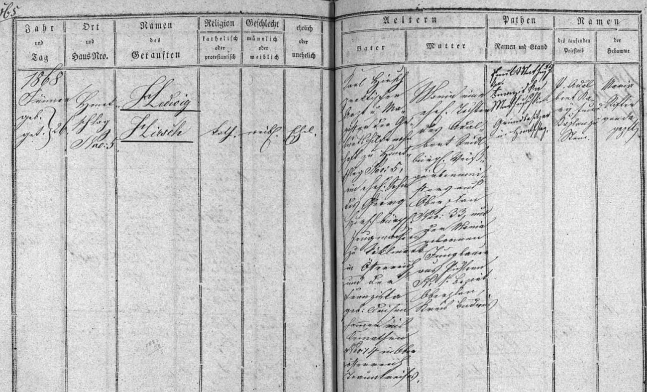 Záznam o jejím narození a křtu 26. ledna 1868 v matrice farní obce Hodňov