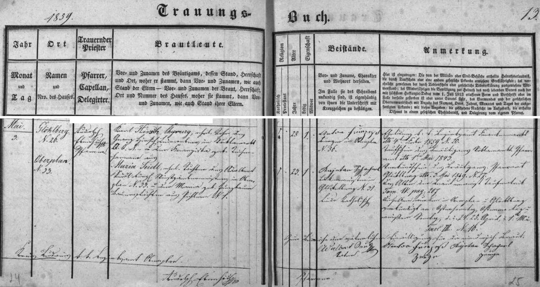 """Záznam o svatbě rodičů v hornoplánské oddací matrice - otec Karl Hirsch tu má jako bydliště uveden """"Glöklberg"""" čp.26, matka Maria, roz Seidlová, Horní Planou čp. 33"""