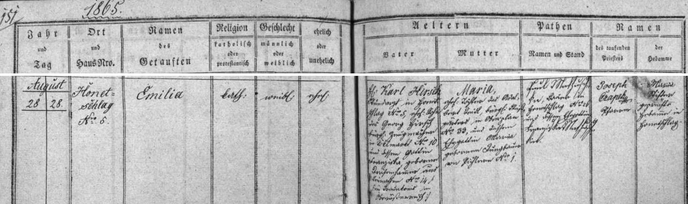 Záznam hodňovské křestní matriky o narození její starší sestry Emilie v srpnu roku 1865