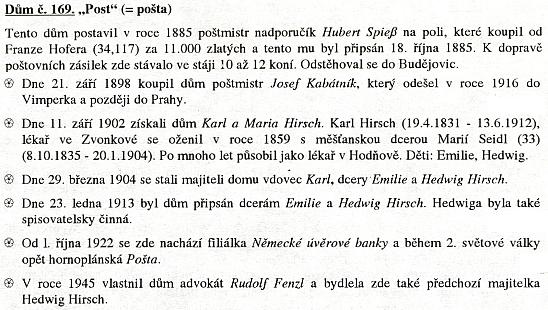 """Přehled řady obyvatel hornoplánského domu čp. 169, řečeného """"Post"""", tj. """"pošta"""", i se čtverou zmínkou o ní"""