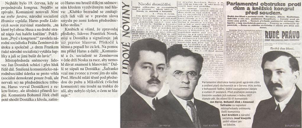 """Takto vyhlížel i za Hirschlovy účasti komunistický a národně socialistický """"podíl"""" na práci republikánského parlamentu v červnu 1926, kdy se projednávaly platy kněží"""