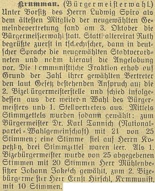 """Už jako komunista byl v říjnu 1923 zvolen toliko druhým náměstkem svého nástupce ve funkci starosty, """"nacionála"""" Karla Tannicha"""