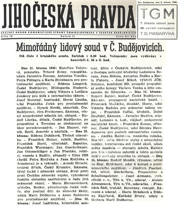 """Zpráva v tehdejším tisku, oznamující zač a kdy byl """"Arnošt"""" Hirschl souzen a téhož ještě dne popraven"""