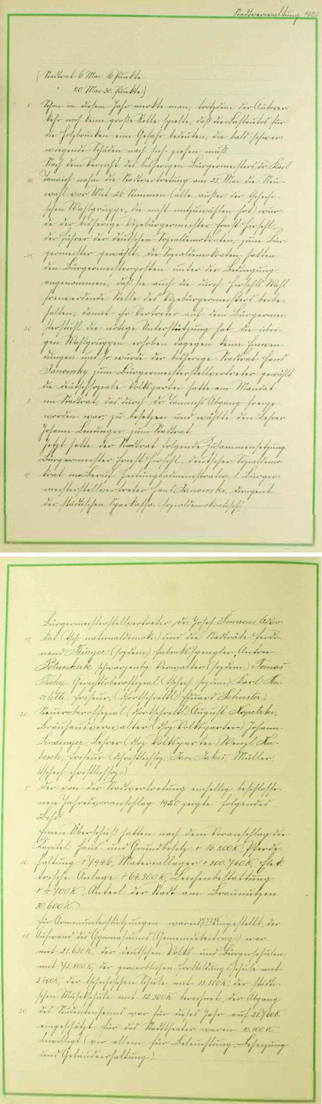 Dvě strany českokrumlovské městské kroniky s informací o Hirschlově zvolení starostou města Český Krumlov v květnu roku 1920