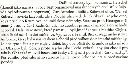 """Jeho jméno, zkomoleno na """"Herschel"""", se objevuje ve vzpomínkové knize Josefa Jakeše o Českém Krumlově"""