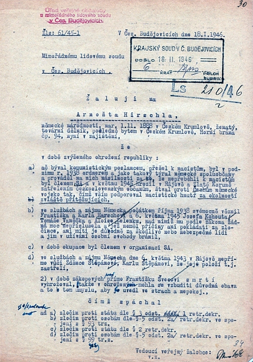 Jeho obžaloba z ledna roku 1946