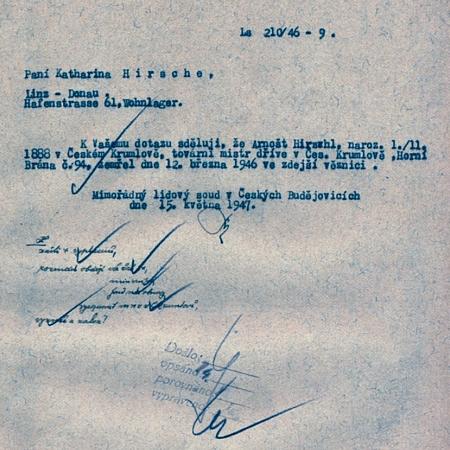 Odpověď Mimořádného lidového soudu jeho manželce, datovaná 15.května 1946