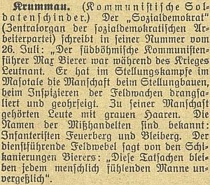 Z doby, kdy Českému Krumlovu ve dvacátých letech minulého století spoluvládli komunisté, jsou i tato dvě svědectví o osobě jejich předáka Maxe Bierera, za první světové válce tyrana podřízených vojáků v rakouské armádě