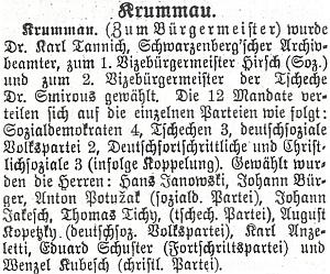 """Ve zprávě o volbě českokrumlovského starosty v léte 1919 je """"přejmenován"""" naHirsche"""