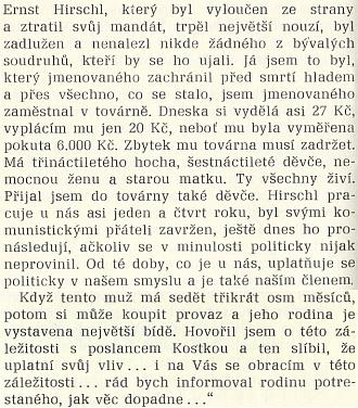 Citace dopisu, který adresoval v březnu 1928 Hans Spiro prezidentu republiky se žádostí o milost pro Hirschla, zavrženého soudruhy aživícího dvě děti, nemocnou ženu a starou matku zdvacetikoruny denní mzdy