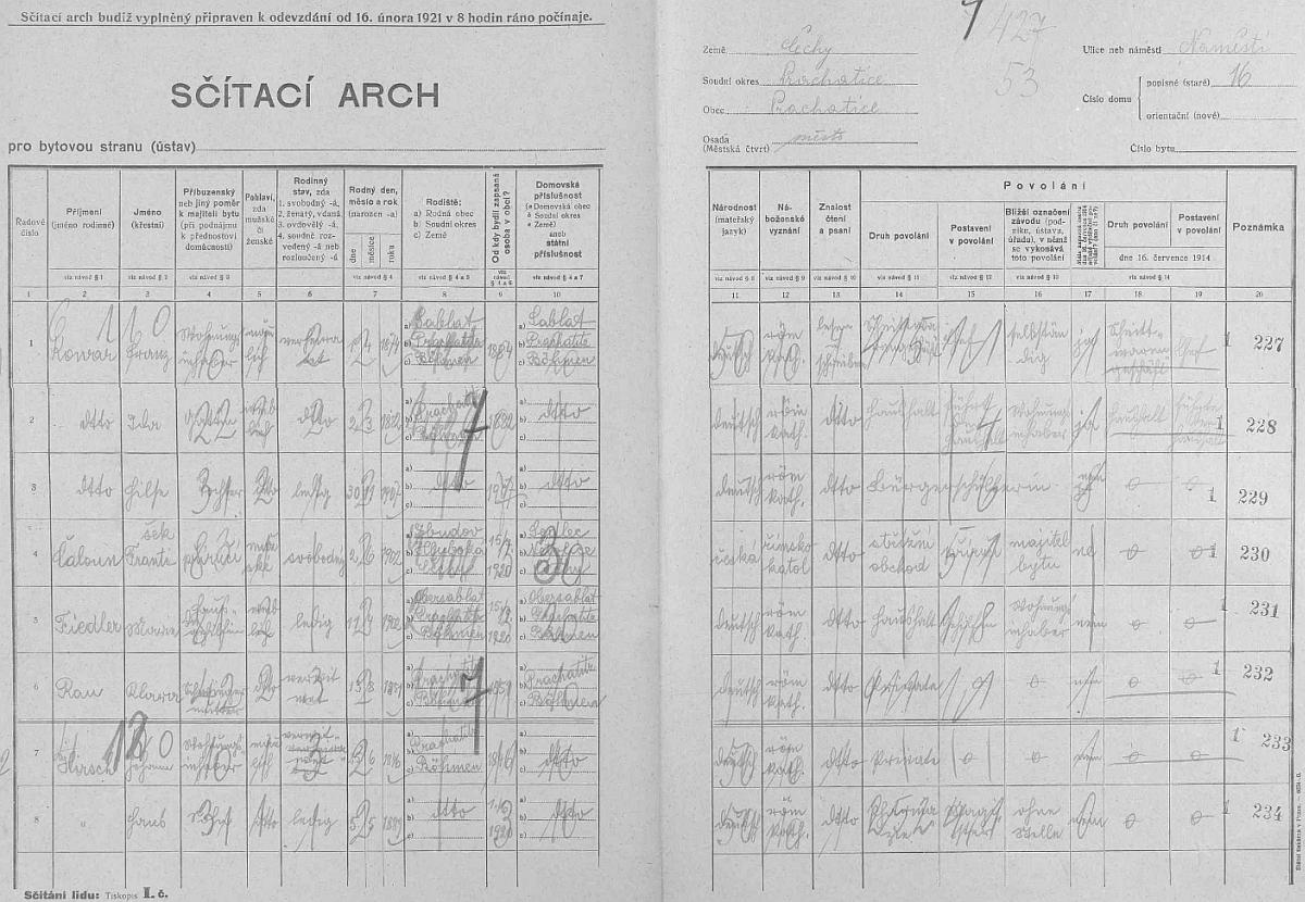 Arch sčítání lidu z roku 1921 pro dům čp. 16 na prachatickém Kostelním náměstí, kde žil mj. ovdovělý už Johann Hirsch se synem Hansem, označeným tu jako  lékárník bez místa