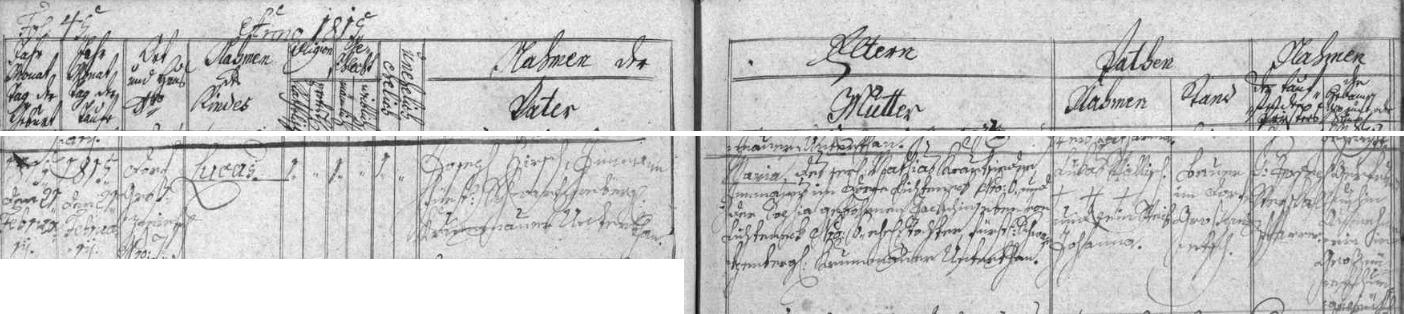 Záznam o narození otcově ve Smědči na stránkách ktišské křestní matriky