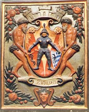 Znak města Zwiesel  na keramickém kachlu
