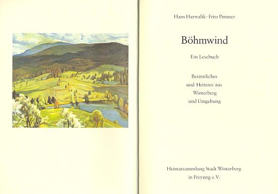 """Frontispis a titulní list """"vimperské antologie"""" Böhmwind (1989) se souborem jejích veršů - obraz Emmi Schuster-Langové má název Pohled od Arnoštova k Boubínu"""
