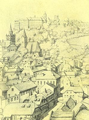 Vimperk na kresbě pražské malířky Franzisky Jakschové