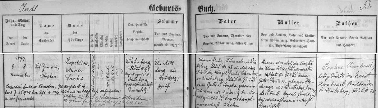 Záznam o jejím narození v rodině vimperského kloboučníka Johanna Fuchse (jeho otec Wenzel Fuchs byl zdejším krejčím, matka Josepha byla roz. Würknerová z Radonic u Kadaně) a jeho ženy Marie, dcery zámečníka v Záblatí Johanna Tobiase a Pauline, roz. Plechingerové z Vimperka, je doprovázen přípisy o vystoupení z římskokatolické církve (Leopoldine žila tehdy roku 1930 v Chomutově) a svatbě s Václavem Hladíkem 9. ledna 1949 v rakouském Ulrichsbergu - informace podivně kolidující s údaji jejího posmrtně zveřejněného životopisu