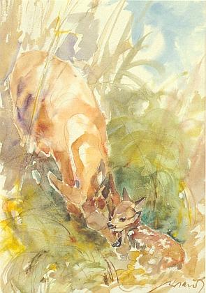 """Akvarel Walthera Niedla s názvem """"Její prvorozený"""" provází cyklus jejích básní """"Durch das Jahr"""" (tj. """"Jak jde rok"""") v této """"čítance"""" vimperských autorů"""