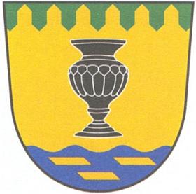 Nový znak obce Pohorská Ves s vázou z černého hyalitu, který se vyráběl v buquoyských sklárnách širšího okolí Novohradska