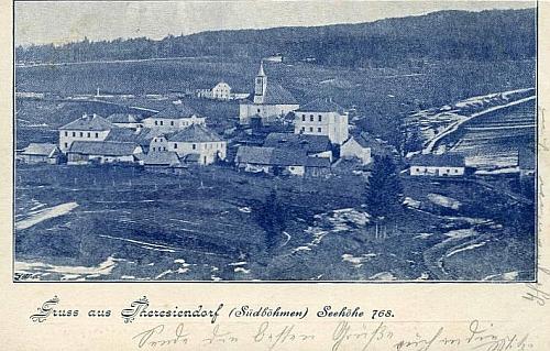 """""""Pozdrav z Terčí Vsi"""" na pohlednici z počátku 20. století"""