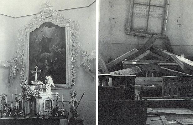 Někdejší hlavní oltář farního kostela sv. Linharta v Pohorské Vsi a zhanobený kostel na snímku z osmdesátých let minulého století, kde je vidět i to, co zbylo z oltáře a obrazu nad ním