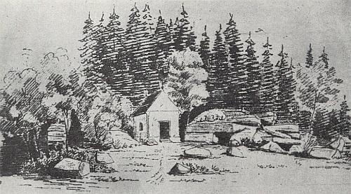 Tady na kresbě z roku 1853, dnes uchovávané ve švýcarské soukromé sbírce, zachytil zděnou (kamennou) ještě podobu Stožecké kaple