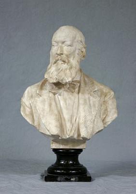 Sádrová bysta, kterou vytvořil rakouský sochař Victor Tilgner na objednávku Geografické společnosti ve Vídni upříležitosti 25. výročí Hochstetterova setrvání ve funkci prezidenta společnosti