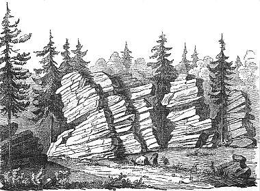 Skály zvané Žebřík (Leiterstein) při vrcholu Kletě (Schöninger) ve vyobrazení z jeho studie...