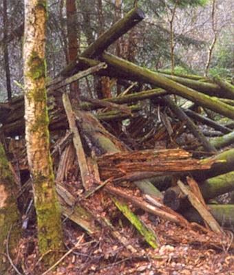 Zbytky dřevěné strážní věže na vrchu Kamenná mezi Valdovem a rovněž zcela zaniklou osadou Čižkrajice pod Chobolkou (Schlagl am Rossberg) při rakouské hranici