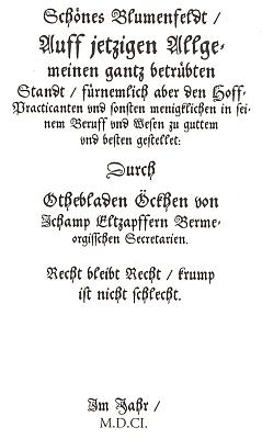 Titulní list (1601) původního vydání sbírky SchönesBlumenfeld - ze šesti zachovaných exemplářů se v Česku nachází jediný v knihovně kláštera Teplá