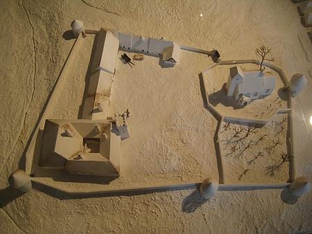 Model žumberského opevnění v expozici Jihočeského muzea vprostorách tvrze