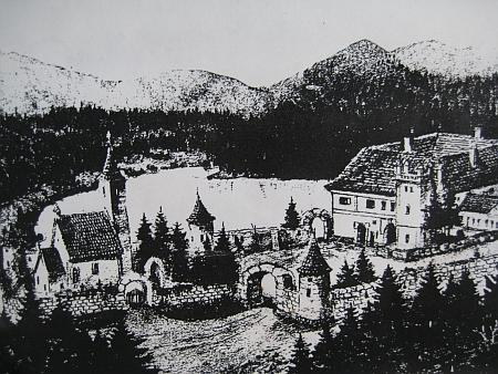 Pokus o rekonstrukci pohledu na žumberský kostel a tvrz za rožmberských časů