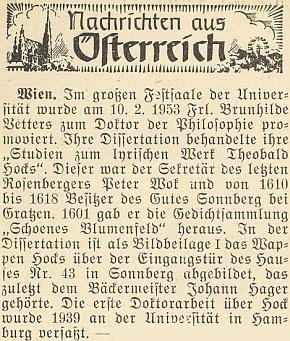 Zpráva krajanského měsíčníku z roku 1953 o vídeňské promoci autorky studie o jeho lyrickém díle Brunhildy Vettersové, která v příloze své disertace otiskla Höckův erb nad vchodem žumberského domu čp. 43, patřícího kdysi mistru pekařskému Johannu Hayerovi