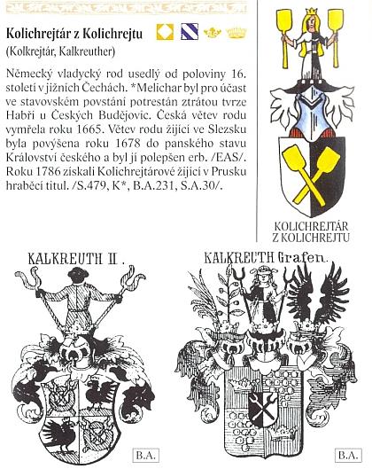 O Kolichrejtárech z Kolichrejtu v encyklopedii českých rodů ajejich erbů