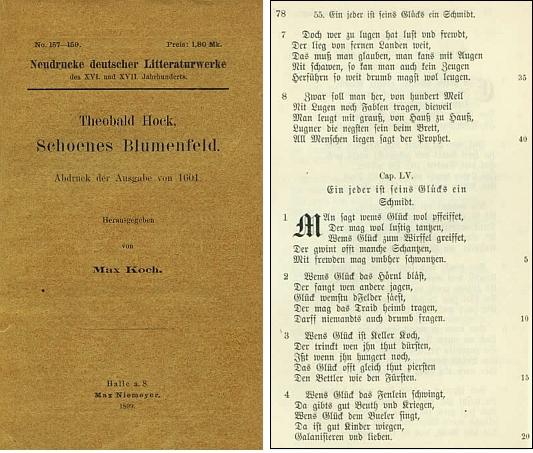 Obálka (1899) reedice jeho díla z roku 1601 a pár stránek z tohoto vydání