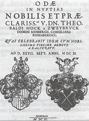 Titulní list tisku k jeho svatbě s Agnes Kalkreutovou v roce 1611