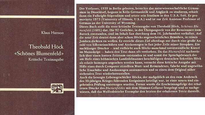 Obálka (1975) prvního kritického vydání jeho básní s charakteristikou díla od Klause Hansona vydaného v Bonnu nakladatelstvím Bouvier