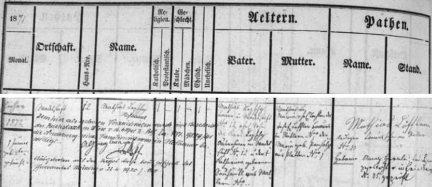 Záznam ve frymburské matrice uvádí datum narození, křtu, přípis o vystoupení z římskokatolické církve v dubnu 1920 a o změně jména v červnu 1941, jakož i jména rodičů Mathiase Lepschyho a matky Marie, roz. Lofflerové z Houžné (babička z otcovy strany byla z Volar a ta z matčiny strany z Blatné u Frymburka)