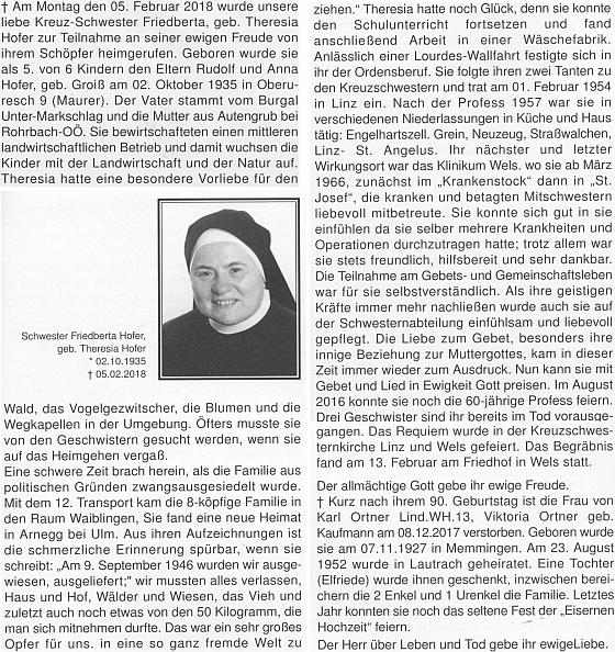 Zpráva o jejím úmrtí v krajanském měsíčníku