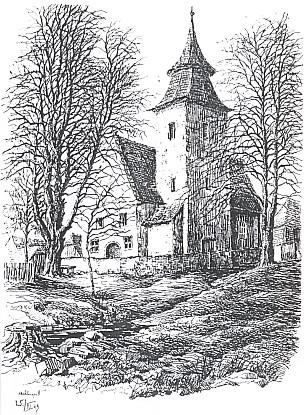 Kostel svaté Anny v Libínském Sedle na kresbě Hanse Nachlingera