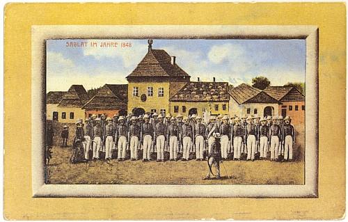 Národní garda v Záblatí roku 1848 na staré malované pohlednici