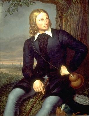 """Na obraze Carla Georga Christiana Schumachera (1797-1869) z roku 1819 je zpodoben ve """"staroněmeckém kroji"""" s poutnickou holí a čutorou jako mladý jednadvacetiletý student univerzity v Bonnu"""