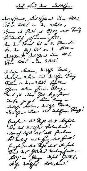 """Rukopis jeho """"Písně Němců"""""""