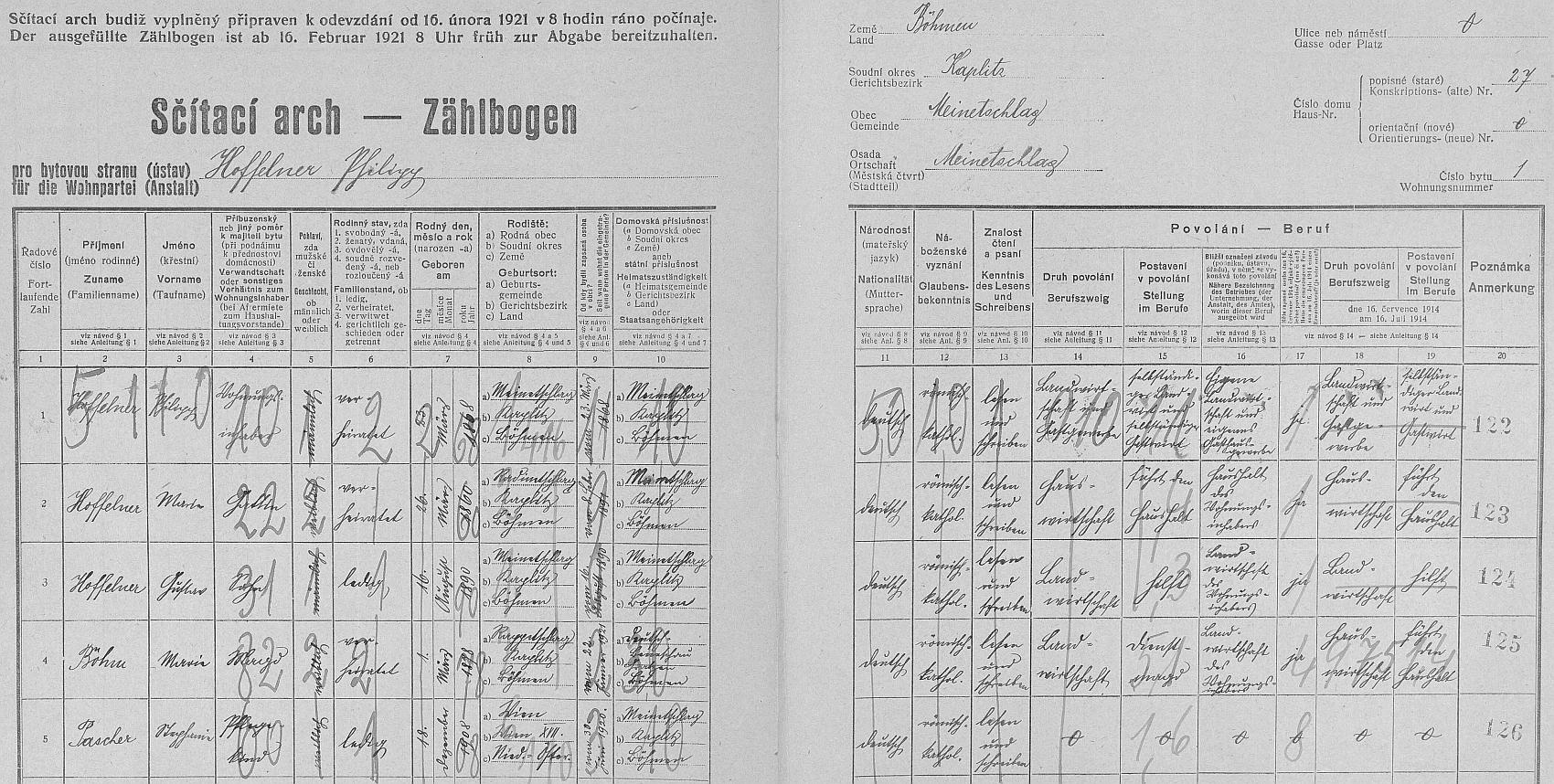 Arch sčítání lidu z roku 1921 dům čp. 27 v Malontech (Pauliho hostinec) ještě bez něj
