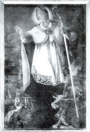 """Obraz sv. Linharta, patrona """"stád"""", na bočním oltáři malontského kostela"""