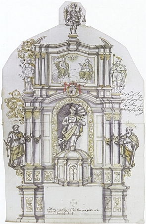 Návrh Georga Leyera na adaptaci hlavního oltáře hornoplánského kostela z roku 1718