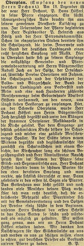 Zpráva o přivítání nového kaplana v Horní Plané na stránkách českobudějovického německého listu