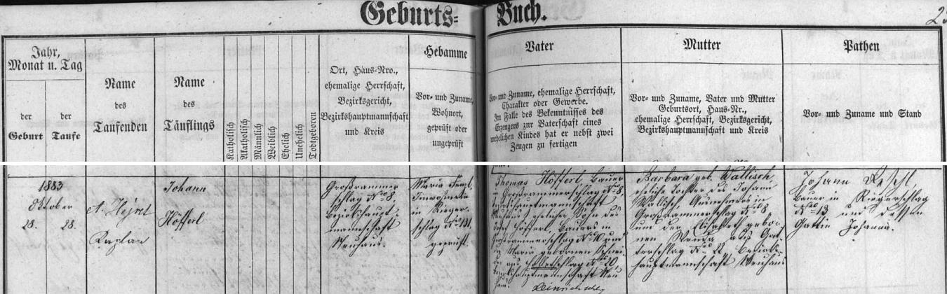 Záznam o jeho narození a křtu ve Velkém Ratmírově v matrice farní obce Lodhéřov