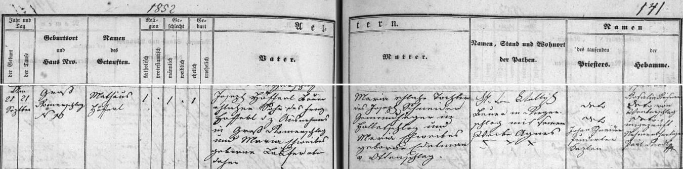 Záznam o narození a křtu jeho strýce Matthäuse Höfferla v lodhéřovské matrice